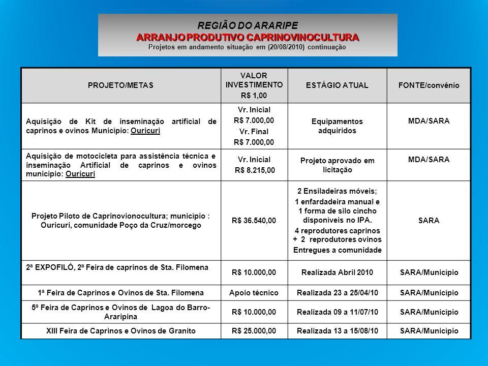 REGIÃO DO ARARIPE ARRANJO PRODUTIVO CAPRINOVINOCULTURA Projetos em andamento situação em (20/08/2010) continuação