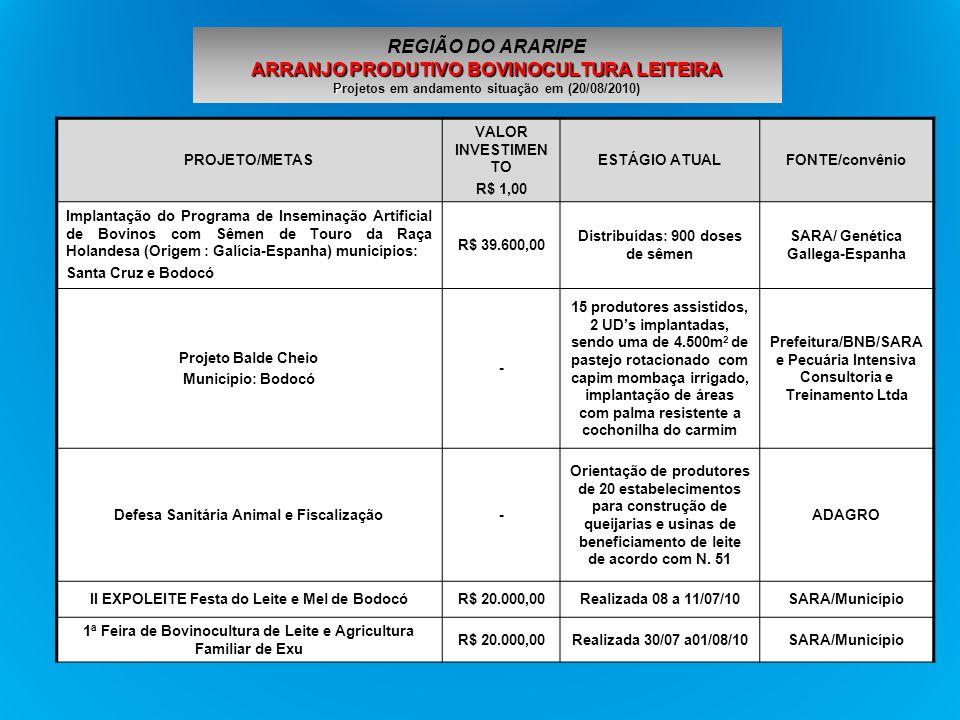 REGIÃO DO ARARIPE ARRANJO PRODUTIVO BOVINOCULTURA LEITEIRA Projetos em andamento situação em (20/08/2010)