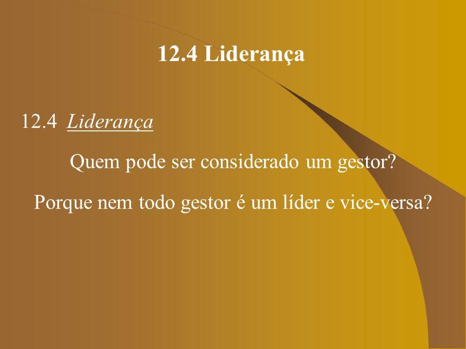 12.4 Liderança 12.4 Liderança Quem pode ser considerado um gestor