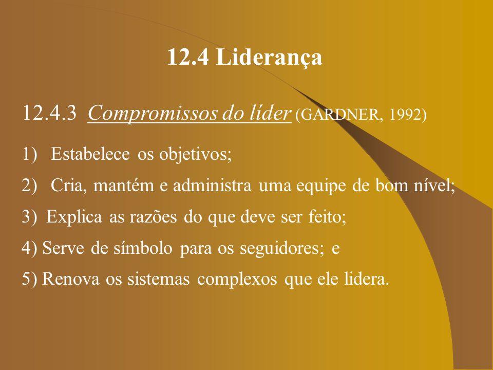 12.4 Liderança 12.4.3 Compromissos do líder (GARDNER, 1992)