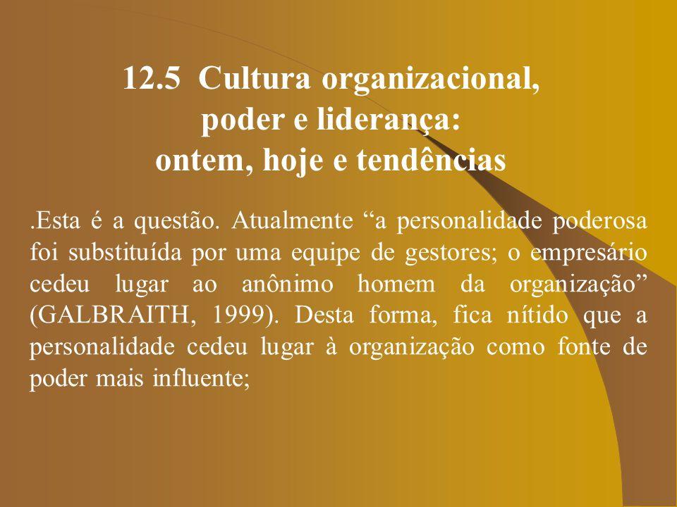 12.5 Cultura organizacional, ontem, hoje e tendências