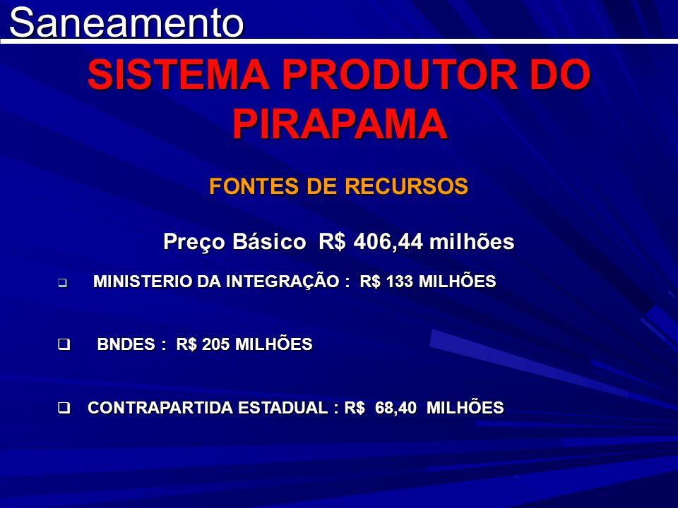 SISTEMA PRODUTOR DO PIRAPAMA Preço Básico R$ 406,44 milhões