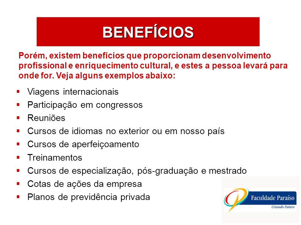 BENEFÍCIOS Viagens internacionais Participação em congressos Reuniões