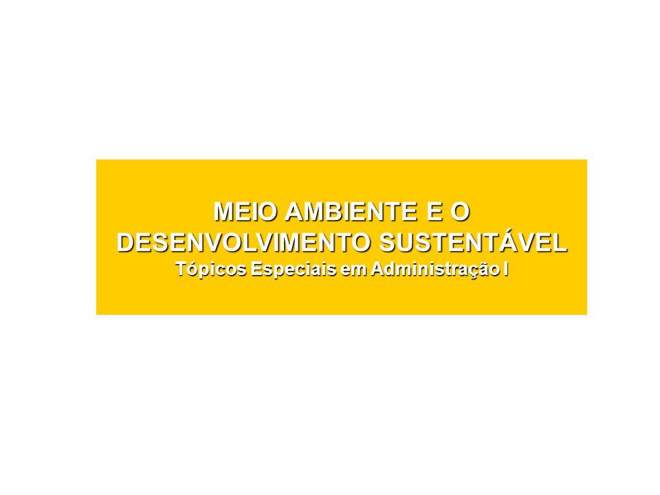 MEIO AMBIENTE E O DESENVOLVIMENTO SUSTENTÁVEL Tópicos Especiais em Administração I