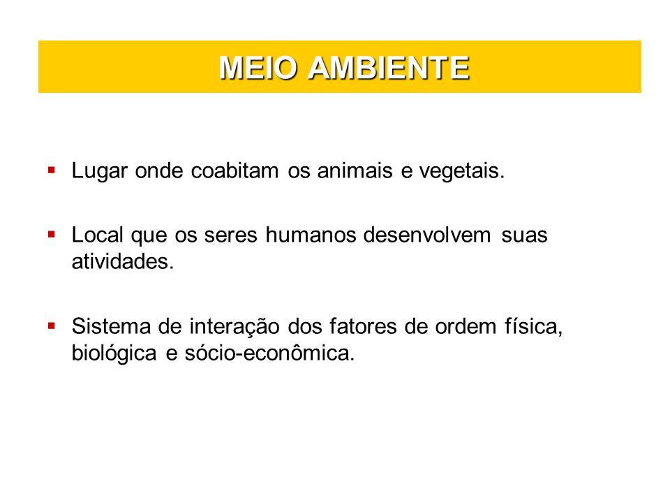 MEIO AMBIENTE Lugar onde coabitam os animais e vegetais.