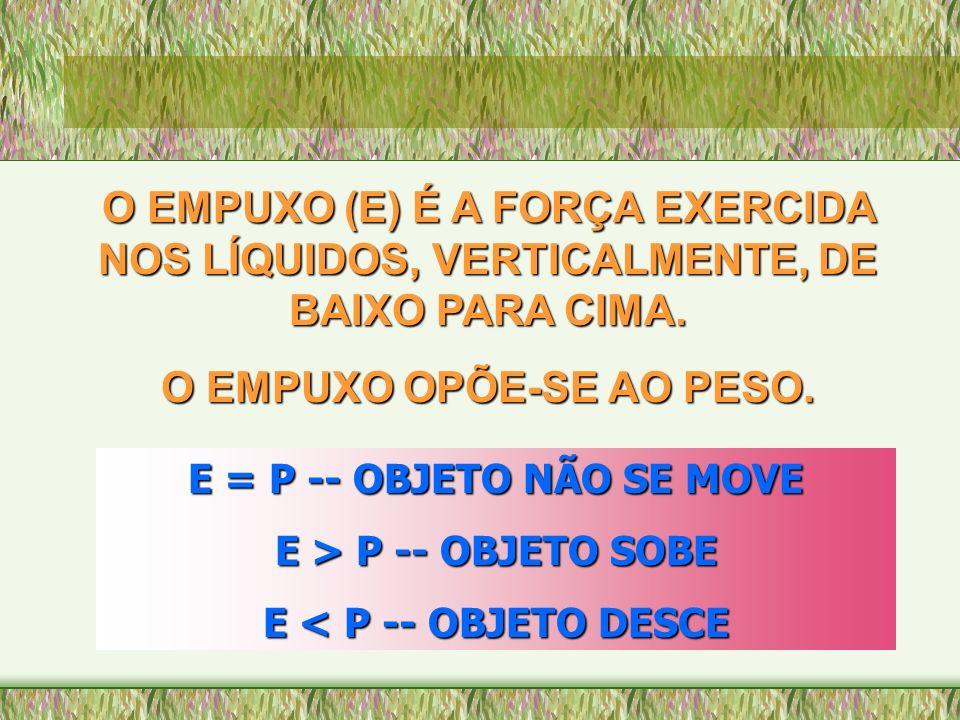 O EMPUXO OPÕE-SE AO PESO. E = P -- OBJETO NÃO SE MOVE