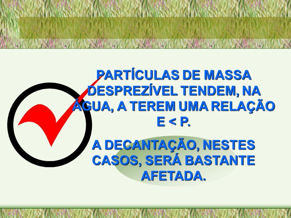A DECANTAÇÃO, NESTES CASOS, SERÁ BASTANTE AFETADA.
