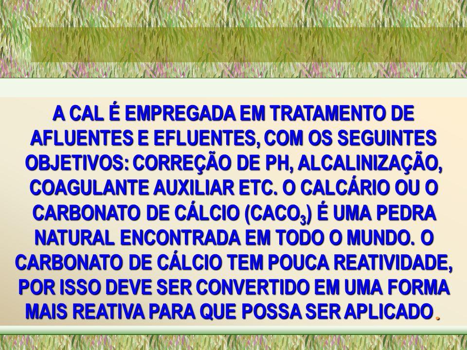 A CAL É EMPREGADA EM TRATAMENTO DE AFLUENTES E EFLUENTES, COM OS SEGUINTES OBJETIVOS: CORREÇÃO DE PH, ALCALINIZAÇÃO, COAGULANTE AUXILIAR ETC.