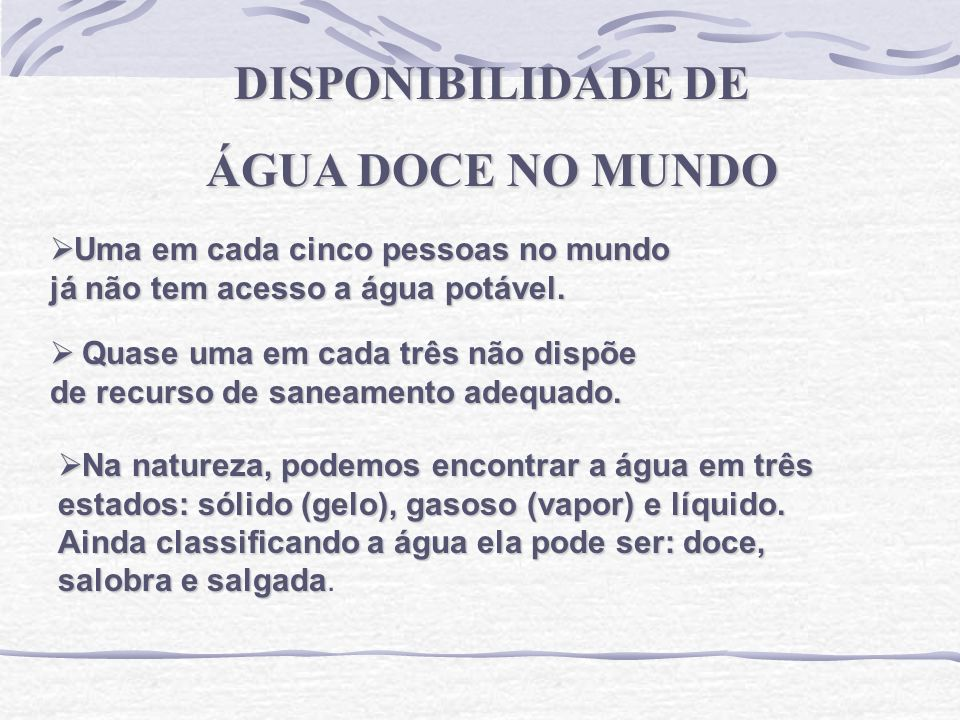 DISPONIBILIDADE DE ÁGUA DOCE NO MUNDO