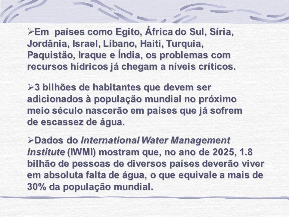 Em países como Egito, África do Sul, Síria, Jordânia, Israel, Líbano, Haiti, Turquia, Paquistão, Iraque e Índia, os problemas com recursos hídricos já chegam a níveis críticos.