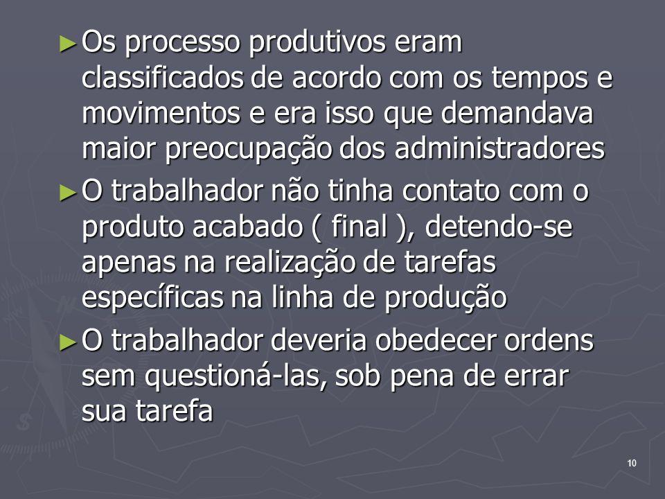 Os processo produtivos eram classificados de acordo com os tempos e movimentos e era isso que demandava maior preocupação dos administradores