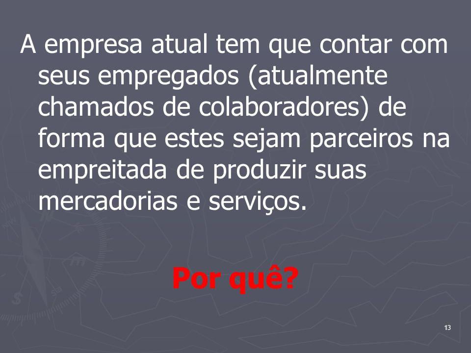 A empresa atual tem que contar com seus empregados (atualmente chamados de colaboradores) de forma que estes sejam parceiros na empreitada de produzir suas mercadorias e serviços.