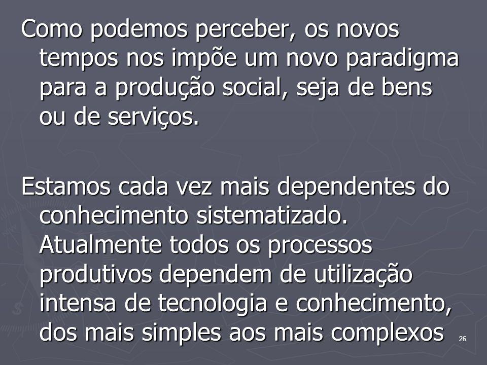 Como podemos perceber, os novos tempos nos impõe um novo paradigma para a produção social, seja de bens ou de serviços.