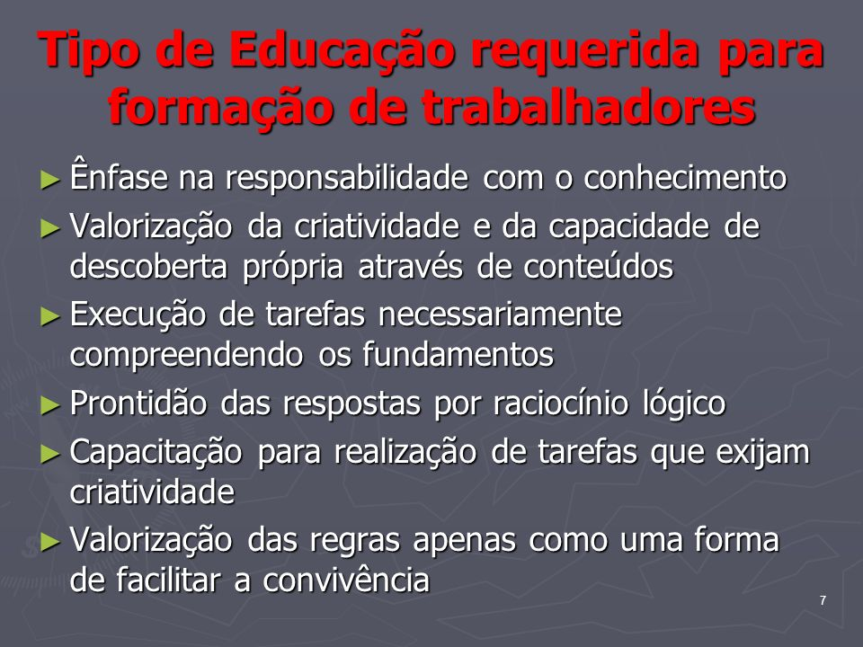 Tipo de Educação requerida para formação de trabalhadores