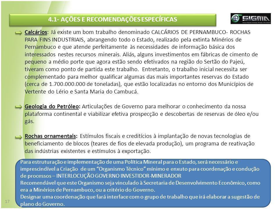 4.1- AÇÕES E RECOMENDAÇÕES ESPECÍFICAS