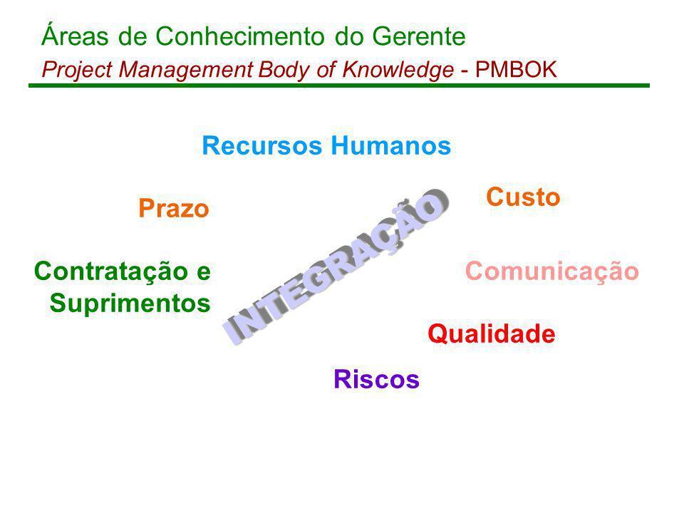 INTEGRAÇÃO Áreas de Conhecimento do Gerente Recursos Humanos Custo