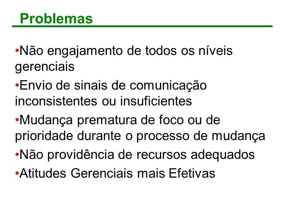 Problemas Não engajamento de todos os níveis gerenciais