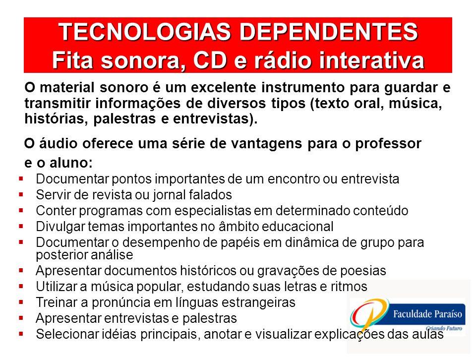 TECNOLOGIAS DEPENDENTES Fita sonora, CD e rádio interativa