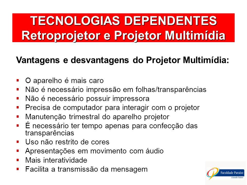 TECNOLOGIAS DEPENDENTES Retroprojetor e Projetor Multimídia