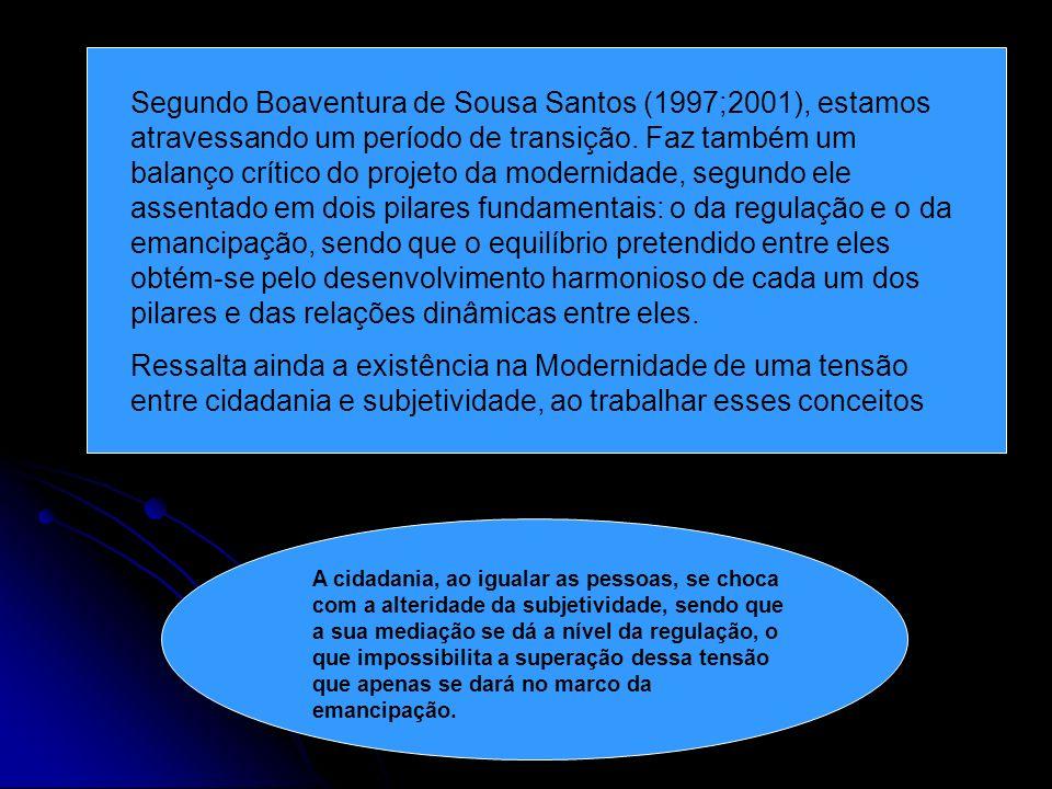 Segundo Boaventura de Sousa Santos (1997;2001), estamos atravessando um período de transição. Faz também um balanço crítico do projeto da modernidade, segundo ele assentado em dois pilares fundamentais: o da regulação e o da emancipação, sendo que o equilíbrio pretendido entre eles obtém-se pelo desenvolvimento harmonioso de cada um dos pilares e das relações dinâmicas entre eles.