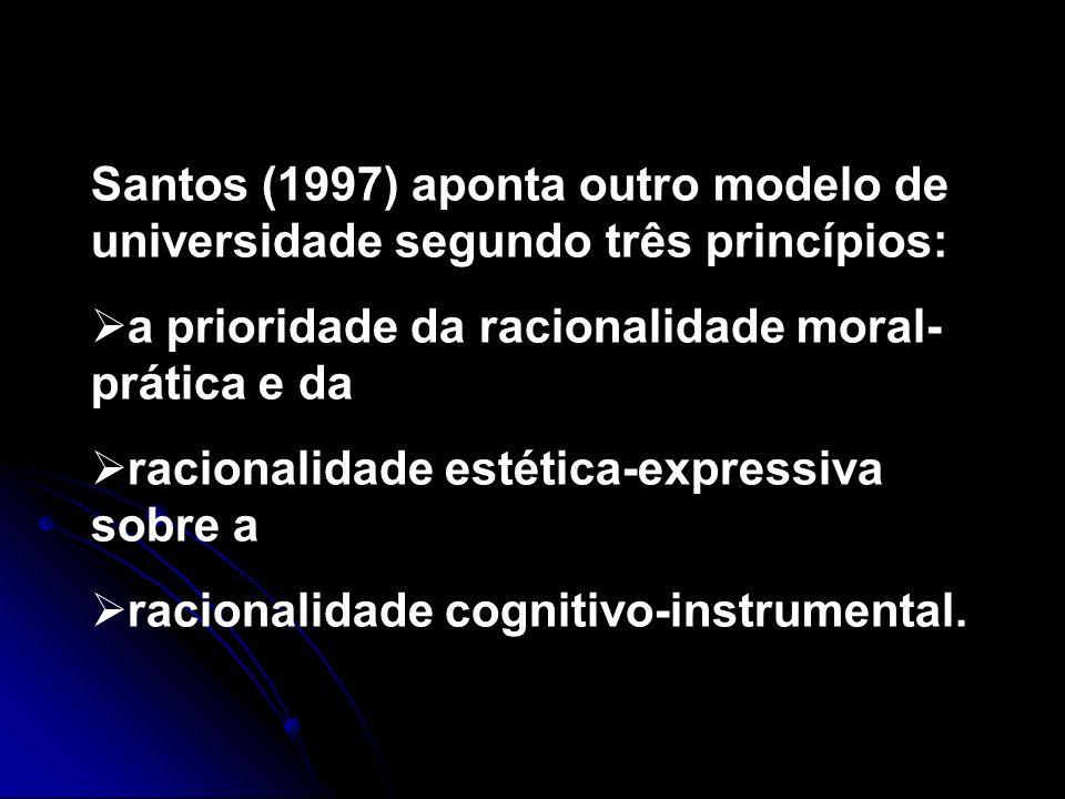 Santos (1997) aponta outro modelo de universidade segundo três princípios: