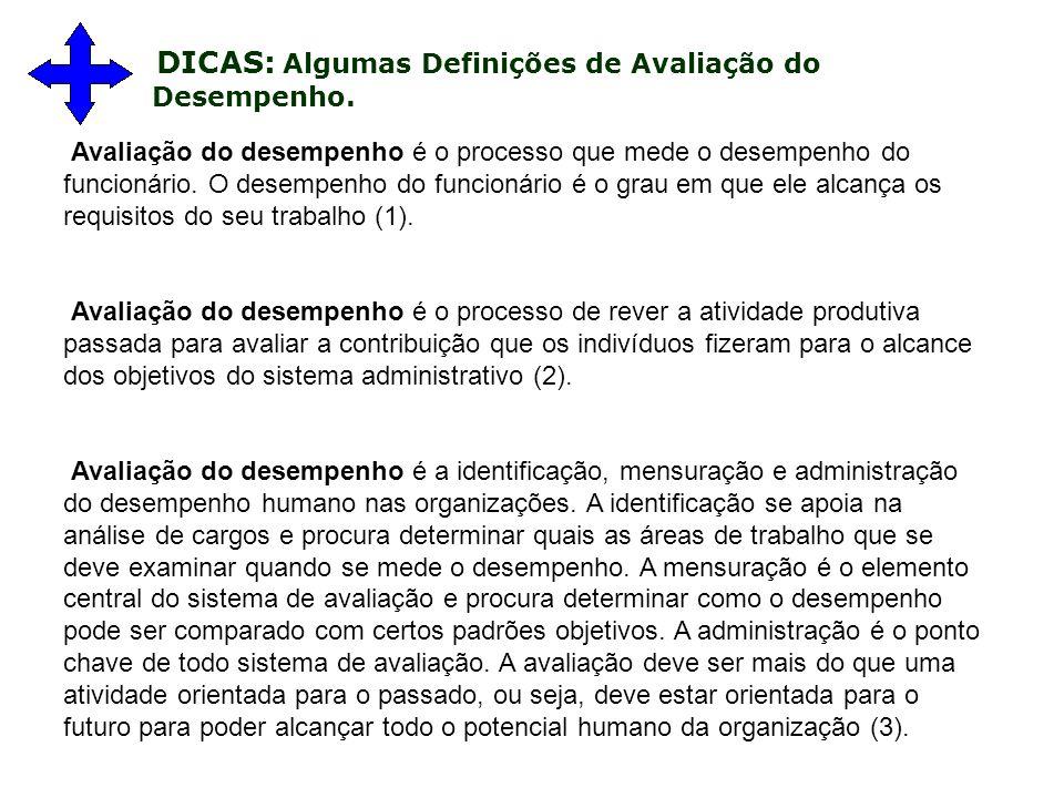 DICAS: Algumas Definições de Avaliação do Desempenho.