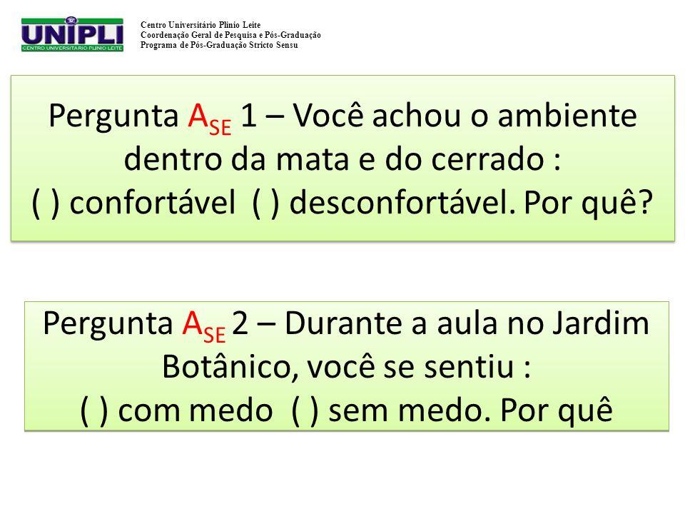 Pergunta ASE 1 – Você achou o ambiente dentro da mata e do cerrado : ( ) confortável ( ) desconfortável. Por quê