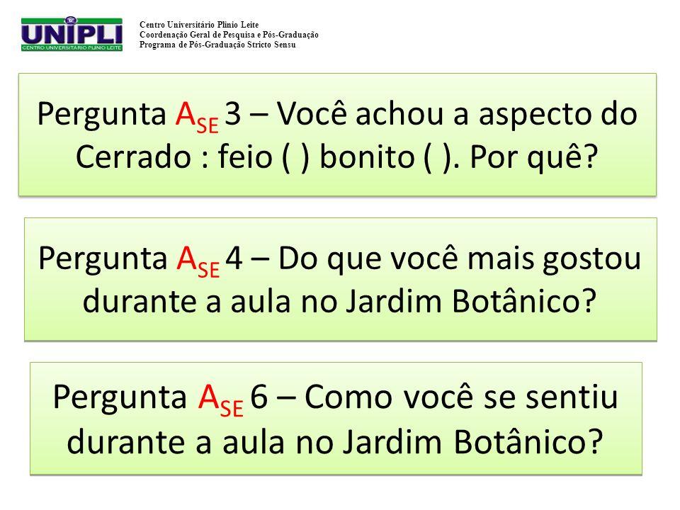 Pergunta ASE 3 – Você achou a aspecto do Cerrado : feio ( ) bonito ( )