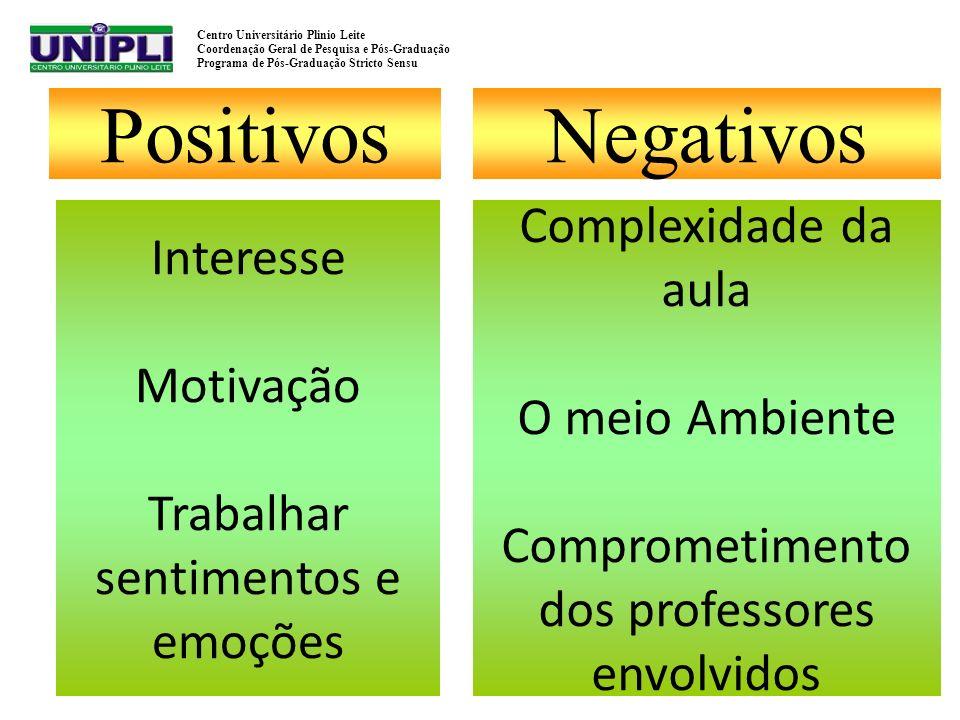 Positivos Negativos Complexidade da aula Interesse Motivação