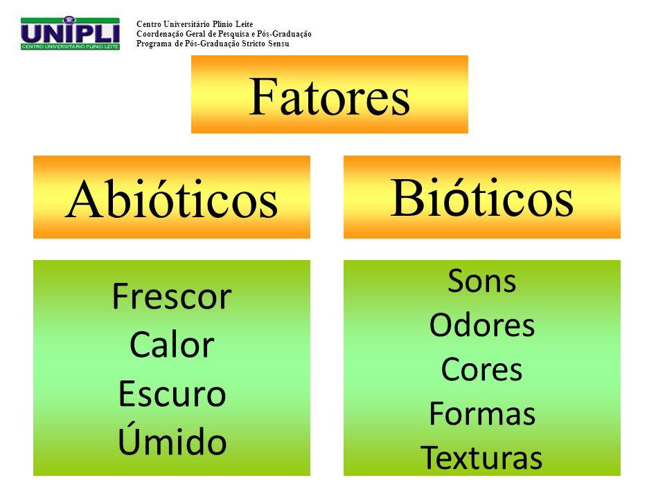 Fatores Abióticos Bióticos Frescor Calor Escuro Úmido Sons Odores