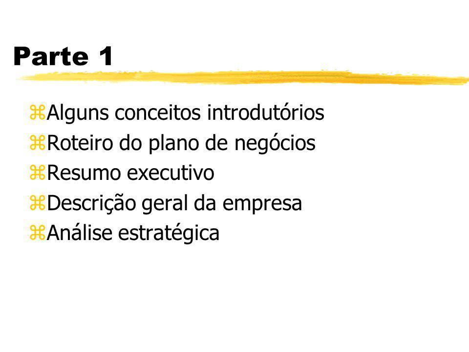 Parte 1 Alguns conceitos introdutórios Roteiro do plano de negócios