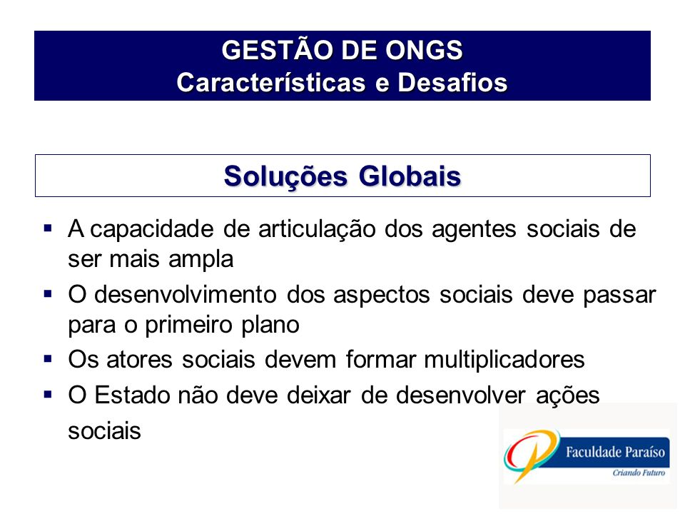 GESTÃO DE ONGS Características e Desafios
