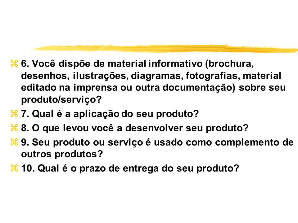 6. Você dispõe de material informativo (brochura, desenhos, ilustrações, diagramas, fotografias, material editado na imprensa ou outra documentação) sobre seu produto/serviço