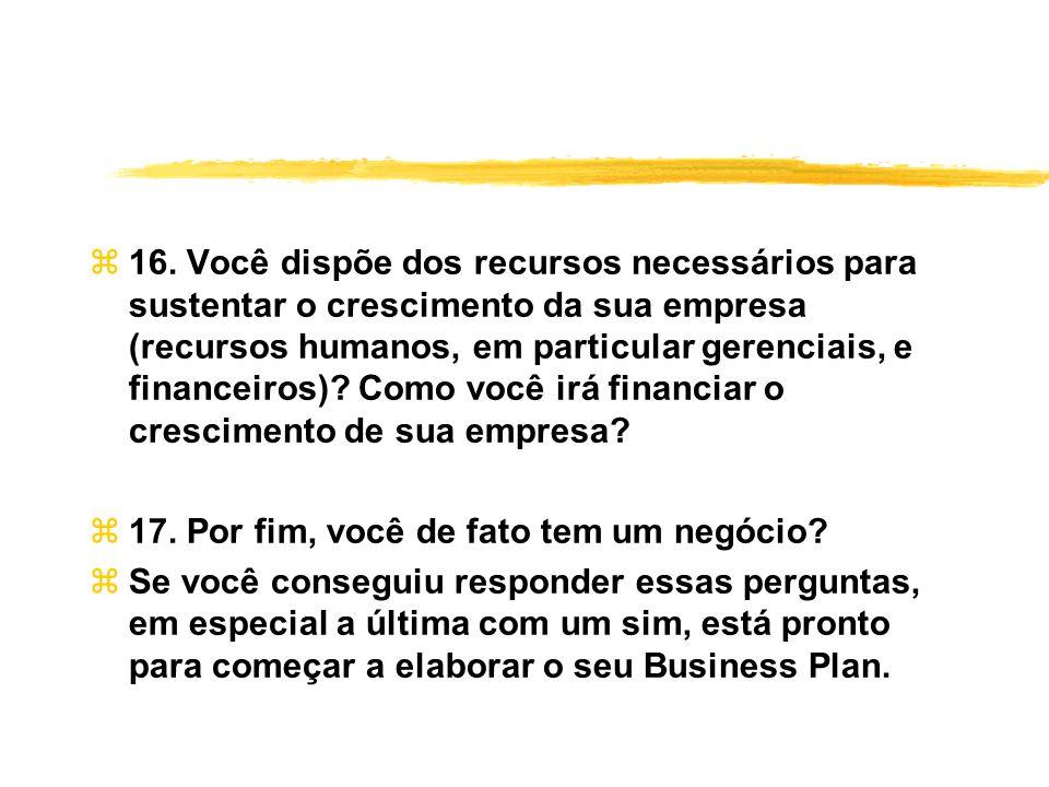 16. Você dispõe dos recursos necessários para sustentar o crescimento da sua empresa (recursos humanos, em particular gerenciais, e financeiros) Como você irá financiar o crescimento de sua empresa