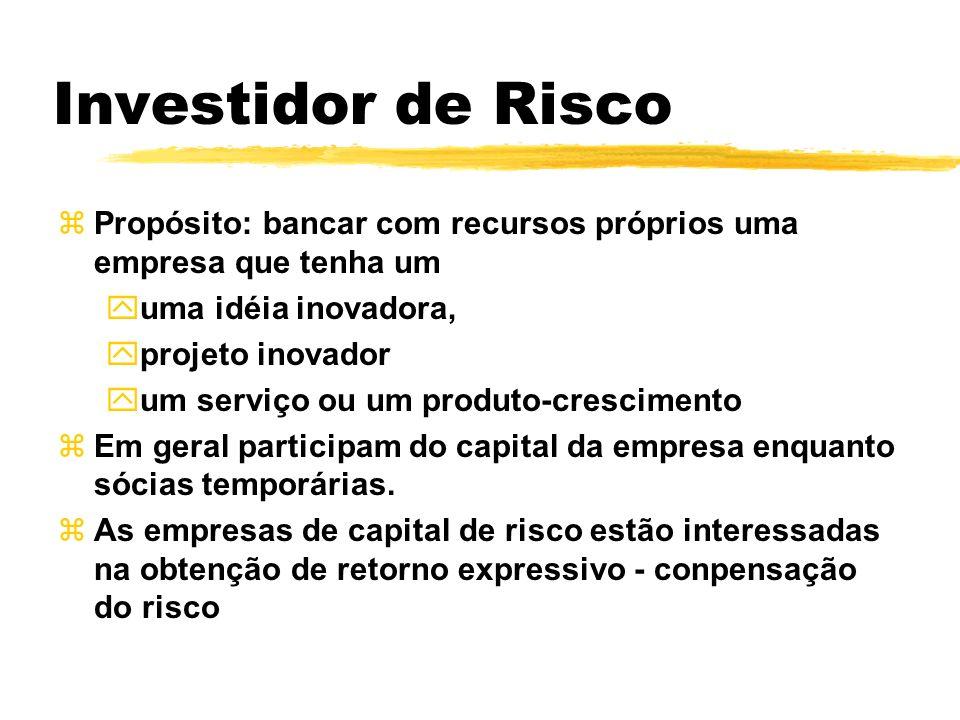 Investidor de Risco Propósito: bancar com recursos próprios uma empresa que tenha um. uma idéia inovadora,