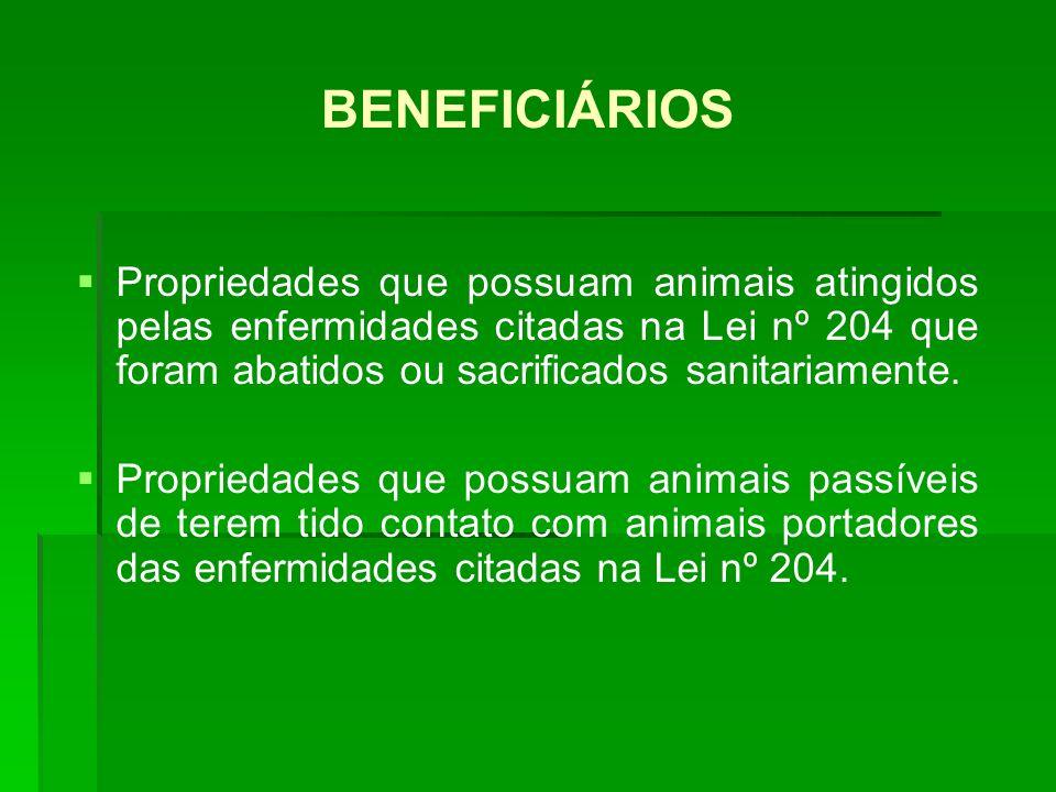 BENEFICIÁRIOS Propriedades que possuam animais atingidos pelas enfermidades citadas na Lei nº 204 que foram abatidos ou sacrificados sanitariamente.
