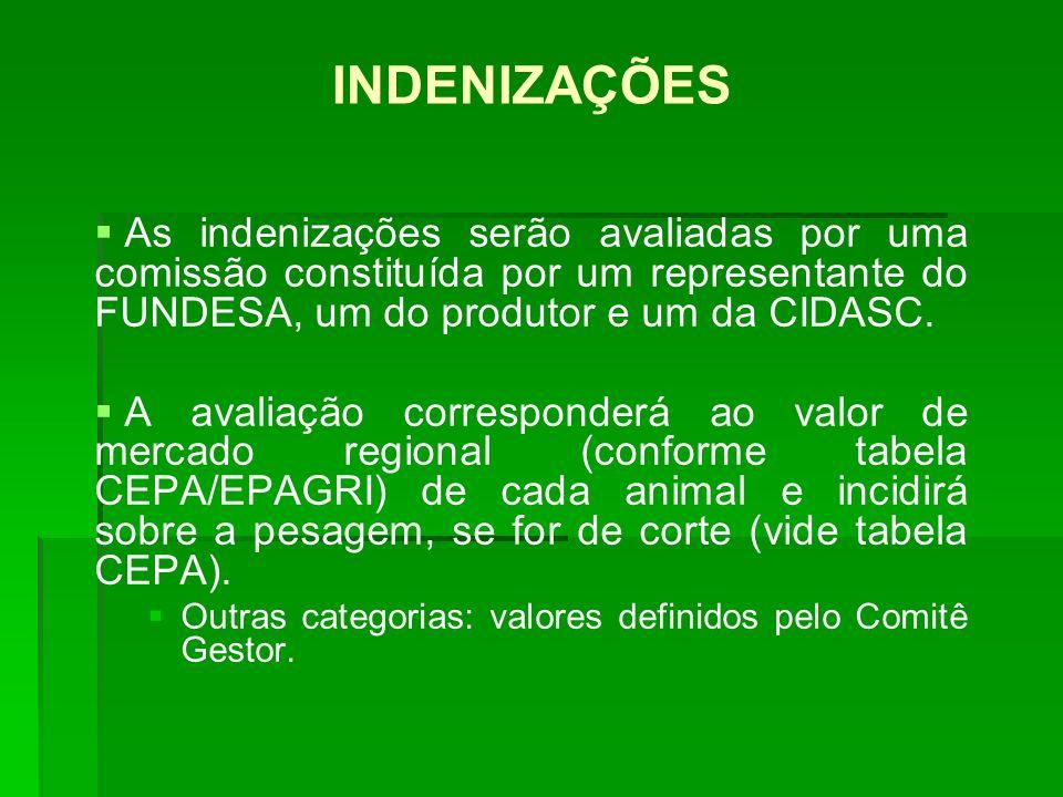 INDENIZAÇÕES As indenizações serão avaliadas por uma comissão constituída por um representante do FUNDESA, um do produtor e um da CIDASC.