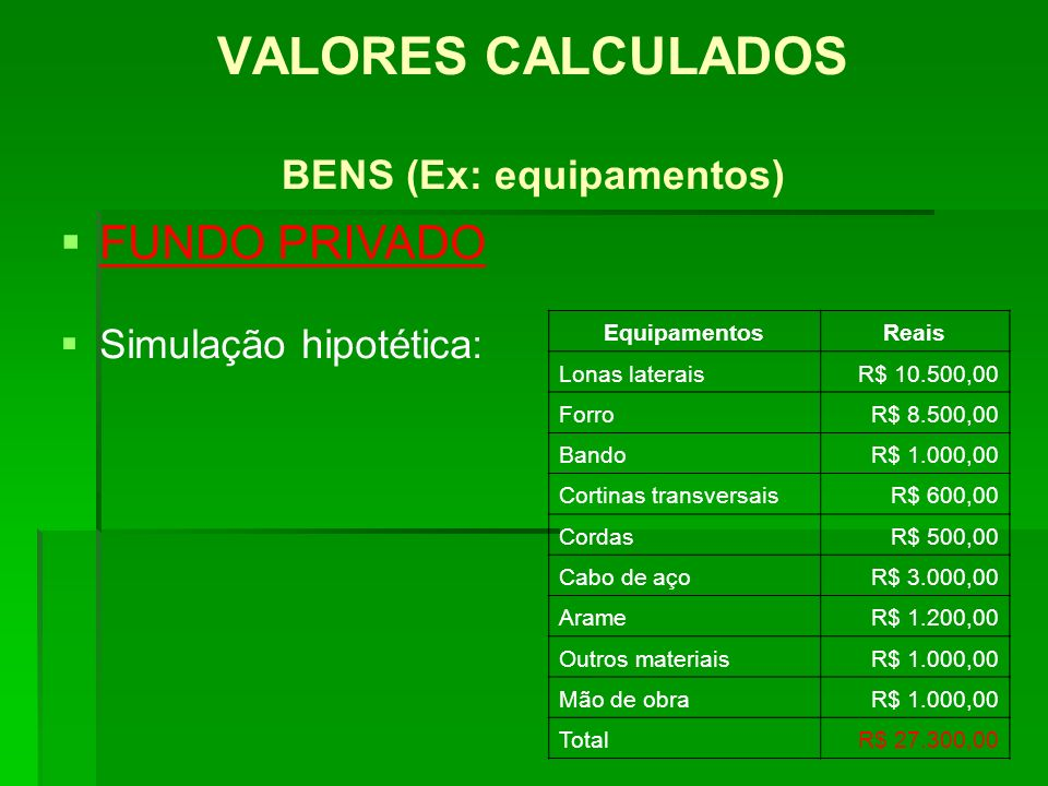 VALORES CALCULADOS BENS (Ex: equipamentos)