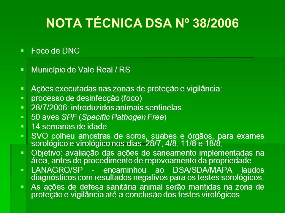 NOTA TÉCNICA DSA Nº 38/2006 Foco de DNC Município de Vale Real / RS