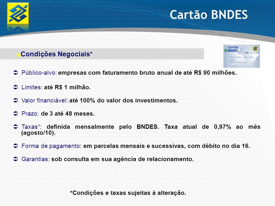 Cartão BNDES Condições Negociais*