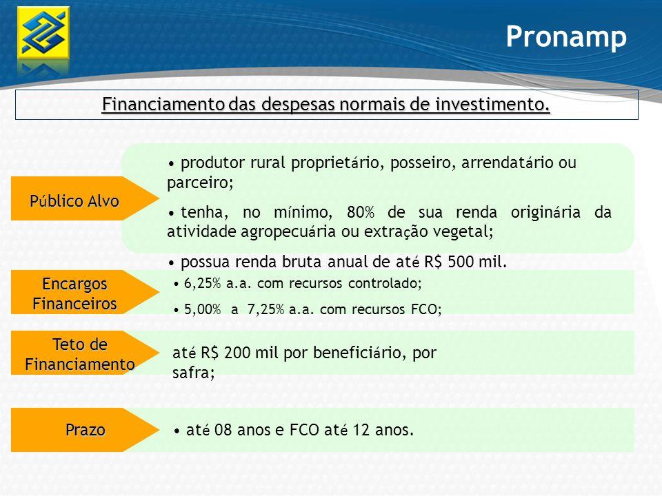 Financiamento das despesas normais de investimento.