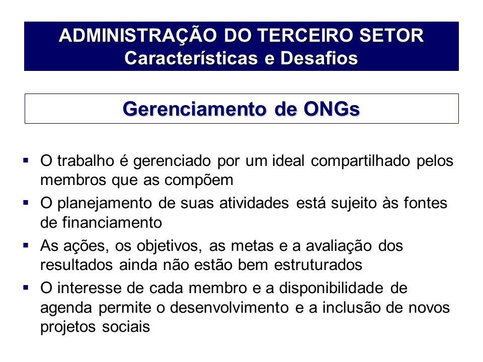 ADMINISTRAÇÃO DO TERCEIRO SETOR Características e Desafios