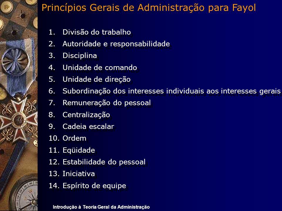 Os 14 Princípios Gerais de Administração para Fayol