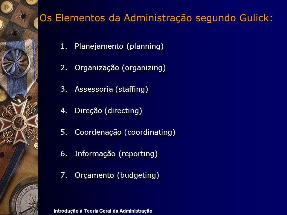 Os Elementos da Administração segundo Gulick: