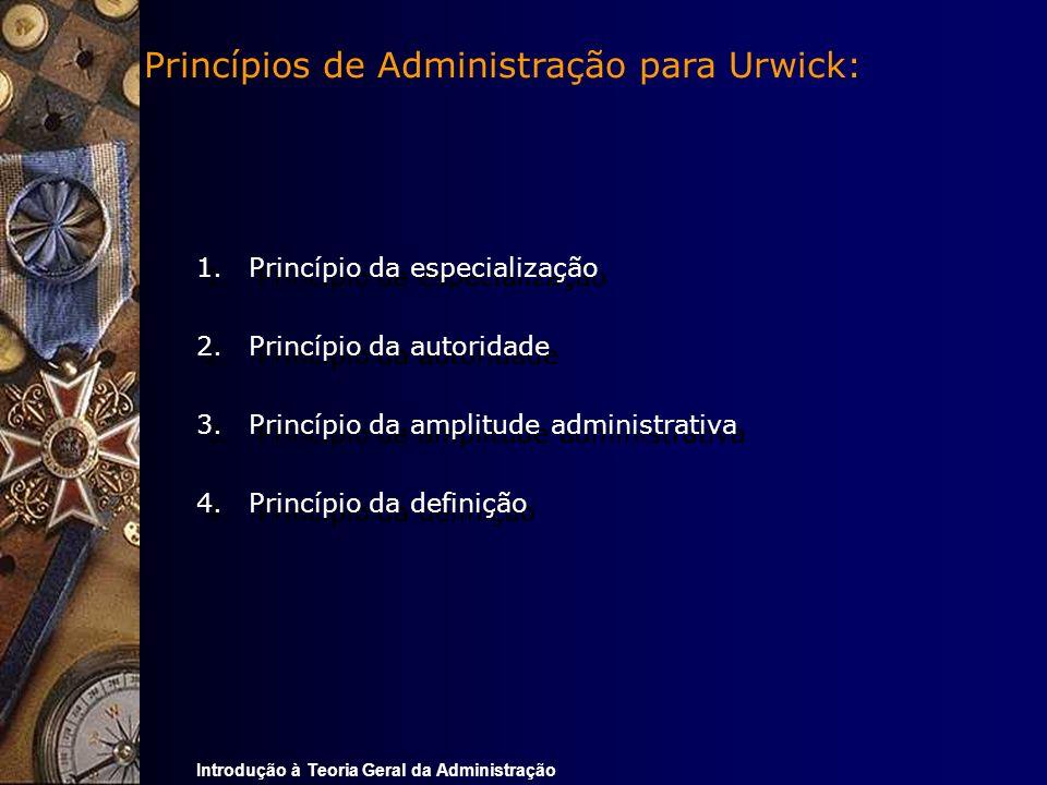 Princípios de Administração para Urwick:
