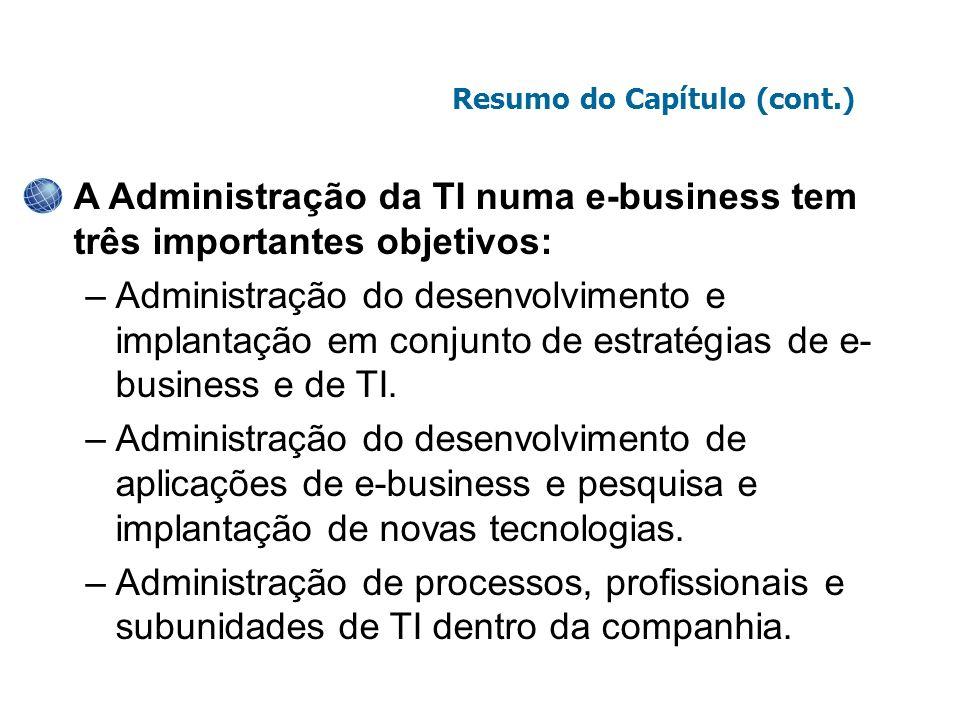 A Administração da TI numa e-business tem três importantes objetivos: