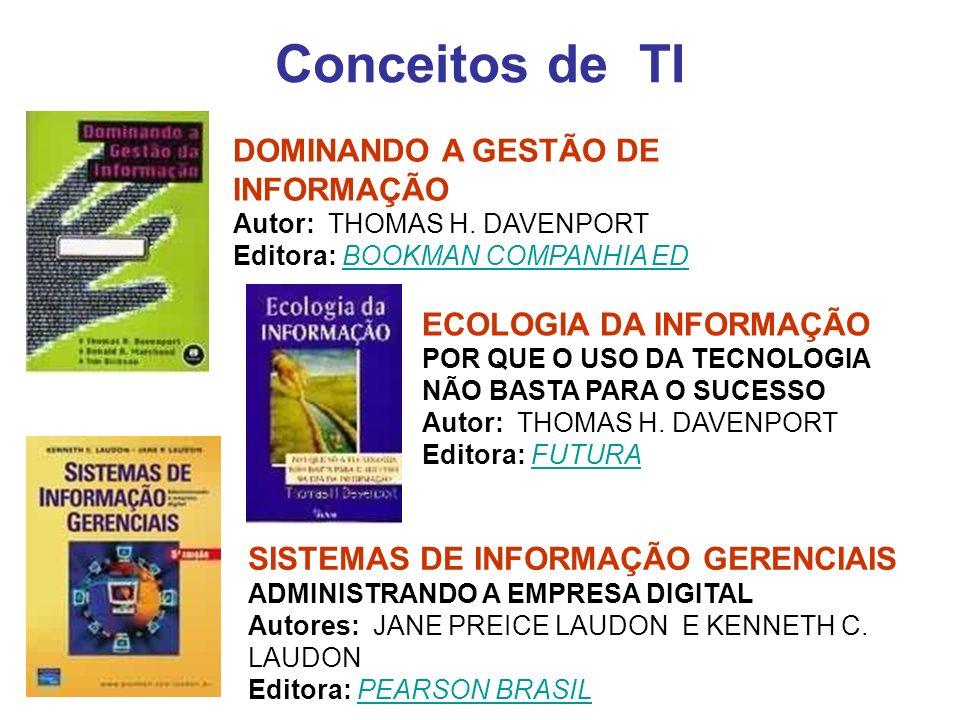 Conceitos de TI DOMINANDO A GESTÃO DE INFORMAÇÃO Autor: THOMAS H. DAVENPORT Editora: BOOKMAN COMPANHIA ED.