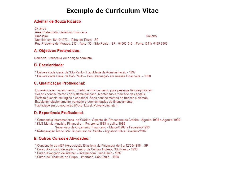 Exemplo de Curriculum Vitae