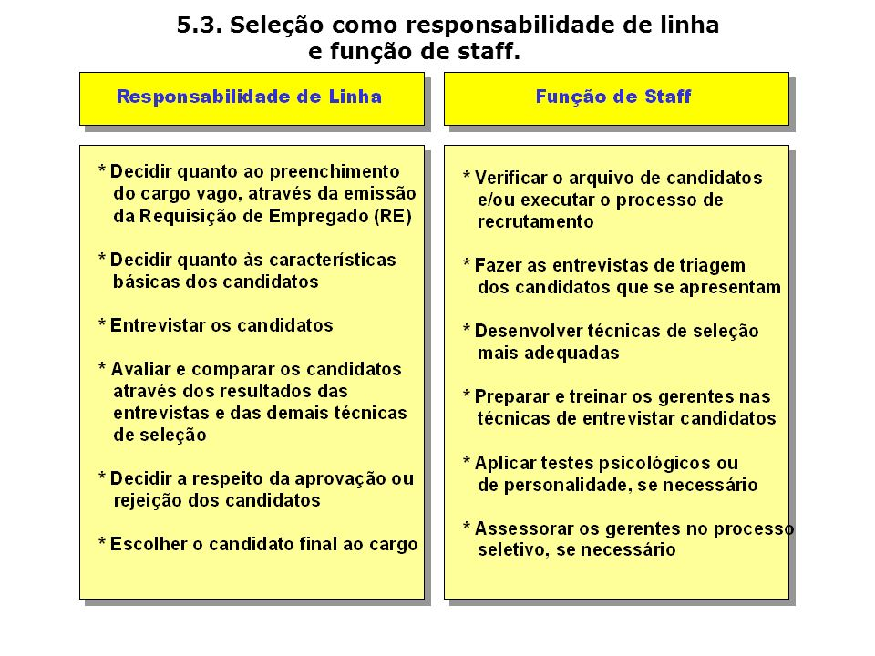 5.3. Seleção como responsabilidade de linha