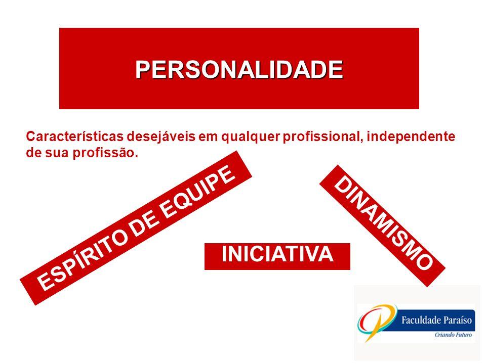 PERSONALIDADE ESPÍRITO DE EQUIPE DINAMISMO INICIATIVA